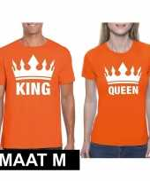 Koppel shirts koningsdag king queen oranje dames heren maat m