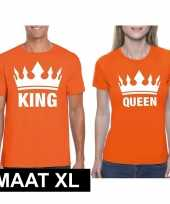 Koppel shirts koningsdag king queen oranje dames heren maat xl