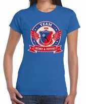Kort pittig team t-shirt blauw dames