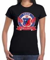 Kort pittig team t-shirt zwart dames
