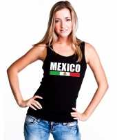 Mexico supporter mouwloos shirt tanktop zwart dames