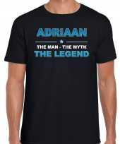 Naam adriaan the man the myth the legend shirt zwart cadeau shirt