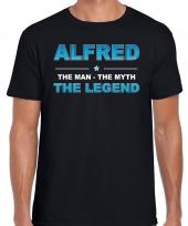 Naam alfred the man the myth the legend shirt zwart cadeau shirt