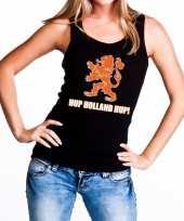Nederlands elftal supporter tanktop mouwloos shirt hup holland hup zwart dames