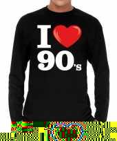 Nineties long sleeve shirt i love 90s bedrukking zwart heren