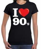 Nineties shirt i love 90s bedrukking zwart dames