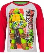 Ninja turtles shirt lange mouw grijs jongens