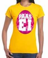Pasen shirt geel roze paasei dames