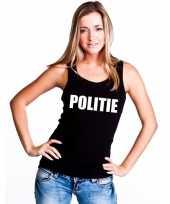 Politie mouwloos shirt zwart dames