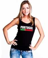 Portugal supporter mouwloos shirt tanktop zwart dames