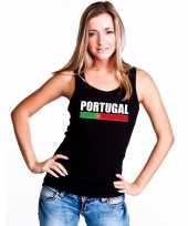 Portugal supporter mouwloos shirt tanktop zwart dames