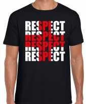Respect rood kruis shirt zwart heren