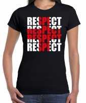 Respect rood kruis steun shirt zwart dames