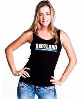 Schotland supporter mouwloos shirt tanktop zwart dames