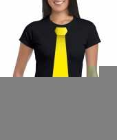 Shirt gele stropdas zwart dames