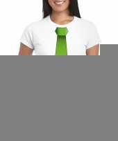Shirt groene stropdas wit dames