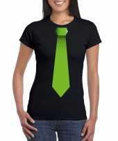 Shirt groene stropdas zwart dames
