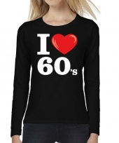 Sixties long sleeve shirt i love 60s bedrukking zwart dames