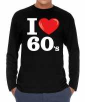 Sixties long sleeve shirt i love 60s bedrukking zwart heren