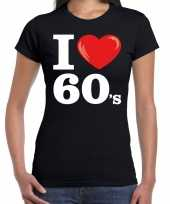 Sixties shirt i love 60s bedrukking zwart dames