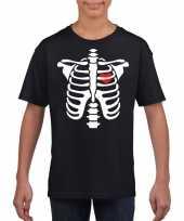 Skelet halloween t-shirt zwart jongens meisjes
