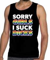 Sorry girls i suck dicks gay pride tekst fun shirt zwart heren