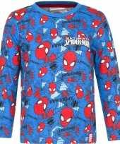 Spiderman shirt lange mouw blauw jongens