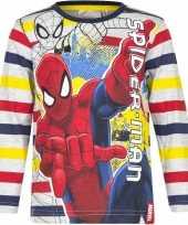 Spiderman shirt lange mouw gestreept jongens