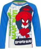 Spiderman t shirt wit blauw