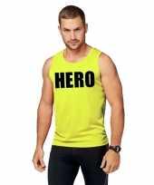 Sport-shirt tekst hero neon geel heren