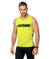 Sport-shirt tekst strong neon geel heren