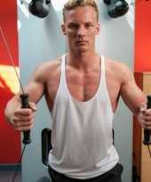 Sportkleding haltershirt mannen wit