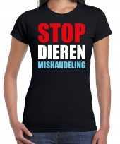 Stop dieren mishandeling protest betoging shirt zwart dames