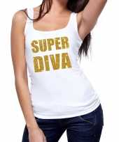 Super diva fun tanktop mouwloos shirt wit dames