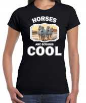 T shirt horses are serious cool zwart dames paarden wit paard shirt