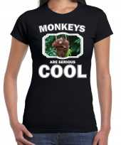 T shirt monkeys are serious cool zwart dames apen orang oetan shirt