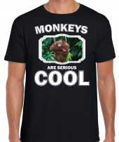 T shirt monkeys are serious cool zwart heren apen orangoetan shirt