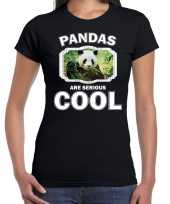 T shirt pandas are serious cool zwart dames pandaberen panda shirt