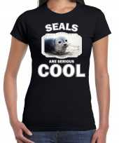 T shirt seals are serious cool zwart dames zeehonden grijze zeehond shirt