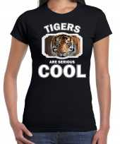 T shirt tigers are serious cool zwart dames tijgers tijger shirt