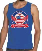 Usa drinking team tanktop mouwloos shirt blauw heren