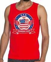 Usa drinking team tanktop mouwloos shirt rood heren