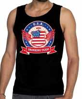 Usa drinking team tanktop mouwloos shirt zwart heren