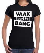 Vaak bujte bang zwarte cross t-shirt zwart dames