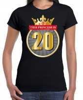 Verjaardagscadeau shirt this princess is 20 year zwart dames