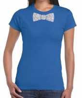 Vlinderdas t-shirt blauw zilveren glitter strikje dames
