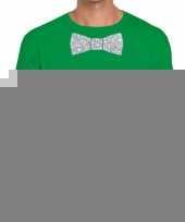 Vlinderdas t-shirt groen zilveren glitter strik heren