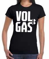 Vol gas zwarte cross t-shirt zwart dames