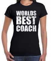 Worlds best coach werelds beste coach cadeau shirt zwart dames
