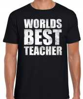 Worlds best teacher werelds beste leraar cadeau shirt zwart heren